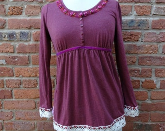 Boho Top,Shabby Chic Top,Romantic Top,Size S Top,Cottage Chic Top,Nine Muses Of Crete