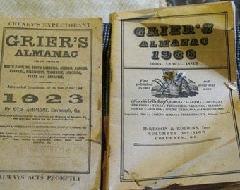 Two Old Grier's Almanacs, 1923 and 1966
