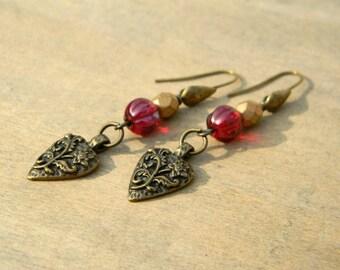Long dangle earrings romantic vintage inspired jewelry beaded earrings red glass heart earrings beaded jewelry victorian inspired jewelry
