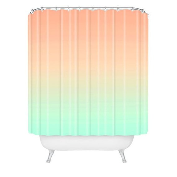 Shower curtain bathroom decor ombre pink mint girly for Girly bathroom accessories