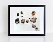 Original abstract art painting on paper, ink art, minimal black white modern zen art, contemporary art, 10X14, by Nader Shenouda