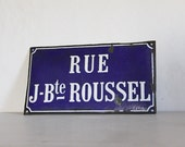 French Enamel Antique Street Sign Loft Living Rue J-Bte Roussel Charity and Kindness