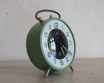 Vintage French Smi Alarm Clock Upcycled  Green