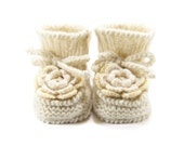 Baby Booties Hand Knitted with Crochet Flower - Natural White, Cream White Flower, 6 - 12 months