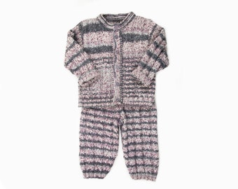 Hand knitted Baby Set - Cardigan and Pants- Grey and Purple Tones, 2/3 Years.