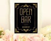 Open bar sign, wedding printables, Great Gatsby decorations, art deco wedding, gold wedding signs, gold foil wedding, roaring 20s decor