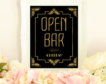 Open bar sign, wedding printables, Great Gatsby decorations, art deco wedding, gold wedding signs, gold foil wedding, roaring 20s decor