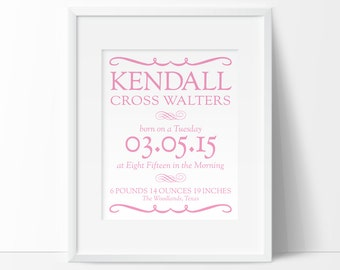 birth announcement wall art, baby birth details, gift for a new baby, nursery printable, nursery name, baby birth stats, baby names on wall