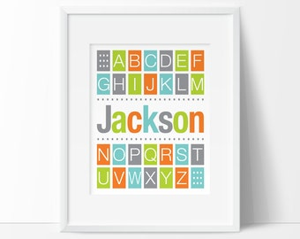 boy nursery wall art, Personalized alphabet wall art, alphabet nursery decor, modern nursery art, DIGITAL nursery art, art for kids