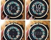 Ready to Personalize Hand Embroidery Hoop Art Customize Anniversary Date Engagement Initials Custom Valentine's Gift for Her Them Under 50