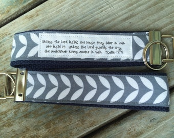 Climbing Leaves on Navy Key Fob:  You choose verse or Quote