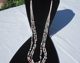 Vintage Triple Strand Heishi Necklace with Turquoise,Onyx,Coral,Tiger's Eye and Shell