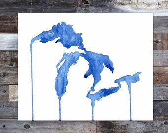 Unsalted Shores, Great Lakes, Great Lakes watercolor map, Michigan, Michigan watercolor, State map, Great Lakes map, Midwest, The Big Lake