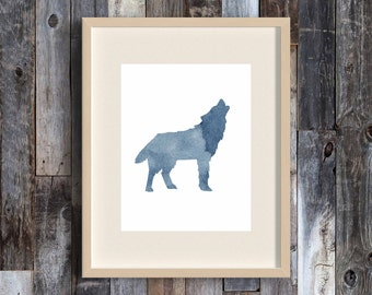 Grey Wolf - watercolor style art print - animal - wall art - grey gray and white - home decor - woodland - cabin - camp