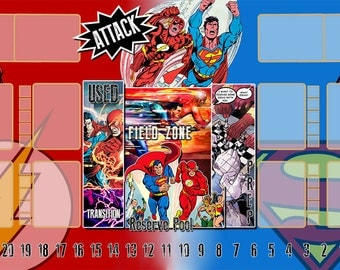 Flash / Superman Dice Masters Play Mat