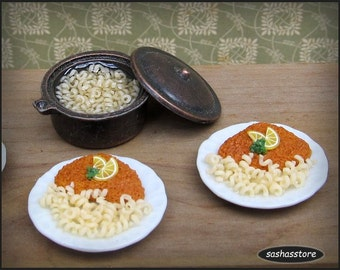 Miniature schnitzel with noodles, 1:12 scale dollhouse food