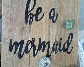 Mermaid sign,Jewelry organizer, jewelry board, reclaimed wood beach sign