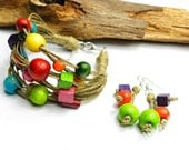 Colorful nature linen set with wooden beads - Bracelet and earrings. Rainbow colors.