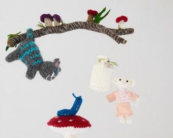 Alice in Wonderland, Baby Mobile, Alice in Wonderland Crib Mobile, Hanging Crib Mobile, Alice in Wonderland Nursery, Cheshire Cat, Woodland