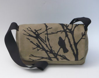 Canvas Cross Body Bag with Hand Printed Crow.