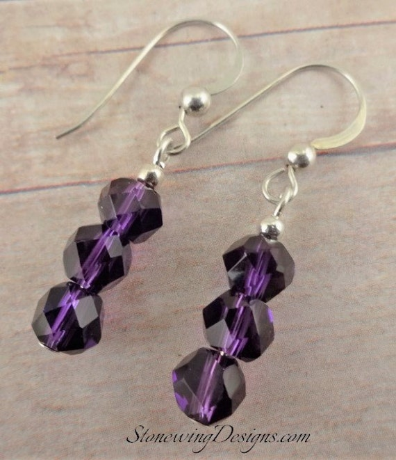 Amethyst Earrings, February Birthstone Jewelry, Birthstone Earrings, Gemstone Earrings, Purple Stone Earrings, Purple Earrings
