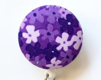 Purple Badge Reel - Floral ID Badge Holder - Flower Badge Holder - ID Badge Reel - Retractable Name Badge - Nurse Gift - Fabric Badge Reel
