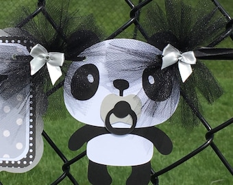 Panda decorations, panda baby shower, baby shower banner, panda banner, gender reveal banner, gender neutral banner, gray decorations,
