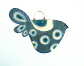 Handmade Ceramic Wall Plaque Decoration Bird shades of speckled blue and turquoise