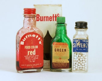 Bakery Decor: Silver Dragees Bottle, Food Coloring Bottles, Vintage Food Packages, Cookie Decorations, Kitchen Decor