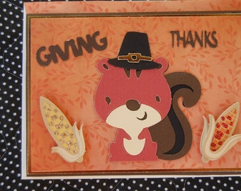 Pilgrim Squirrel  Thanksgiving Note Card with Coordinating Envelope
