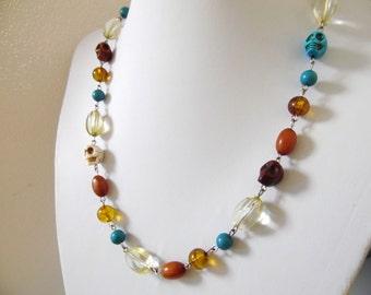 Sugar Skull Necklace Earthy Day of the Dead Jewelry Boho Skulls