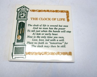 Large Ceramic Tile Trivet Clock Of Life