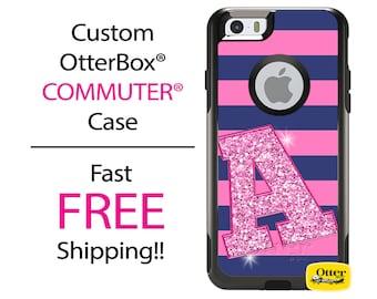 iPhone OtterBox Commuter Case for iPhone 7, 7 Plus, 6/6s, 6 Plus/6s Plus, 5/5s/SE, 5c Galaxy S7 S6 S5 Note 5 Monogram Glitter Bling Stripes