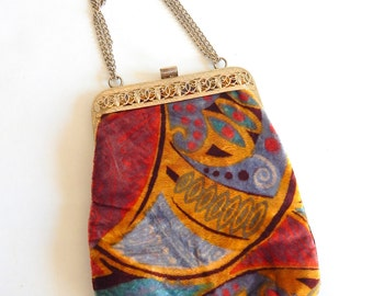 Colorful Panne Velvet 1970s does 1930s Evening Bag Deco Graphics