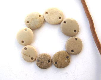 Rock Beads Small Mediterranean Beach Stone Jewelry Links River Rock Beach Pebble Diy Jewelry Beads Stone Connectors DEGRADED LINKS 16-22 mm