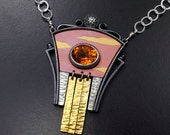 Sunset scene silver necklace with citrine and fine gold