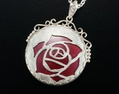 Sale: Burgundy rose open work pendant necklace with red copper