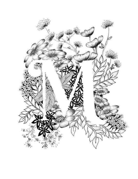 Letter M Print Alphabet Calligraphy Typography Monogram