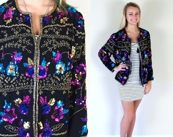Half Off vintage 80s black BEADED gold silk TROPHY JACKET statement Lg/Extra Large cocktail party cardigan India jewel tone nye holiday