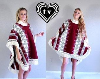 Half Off vtg 70s MAROON zig zag ethnic FRINGE CAPE os southwestern hippie knit top sweater jacket coat poncho