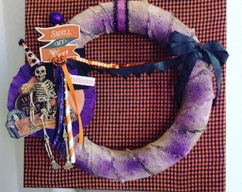 Halloween Skeleton Wreath 12x12 Framed
