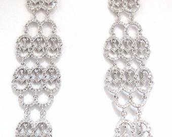2.30ct natural diamonds modern dangle long earrings 14kt