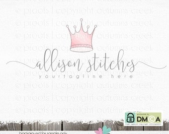 tiara logo crown logo premade Logo princess logo photography logo sewing logo fashion blog logo pink logo watercolor logos for photographer