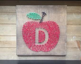 Custom Teacher Gift apple string art!