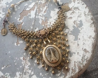 Brass Necklace, Boho Jewelry, Eiffel Tower, Bib Necklace, Assemblage Necklace, Repurposed Brooch Jewelry