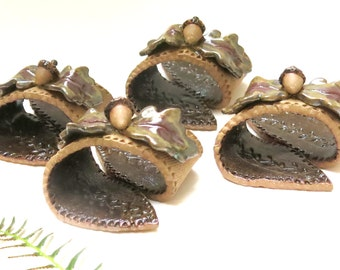 Pottery Acorn Napkin Holder Rings, Ceramic Leaf Theme Fall Party Decor Tableware Place Setting, Thanksgiving Harvest Buffet Table Decoration