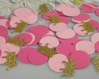 Pink and Gold First Birthday Party Decoration Confetti / Little Princess Party / Tiara Confetti / Gold Glitter Crowns