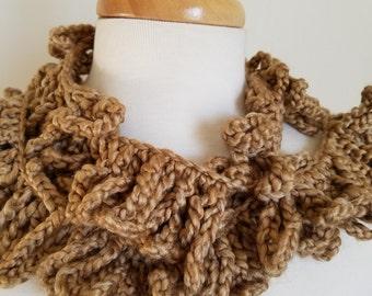 Beige Crocheted Loopy Scarf