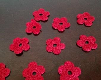 Ten Crochet Flower Appliques or Embellishments in Red