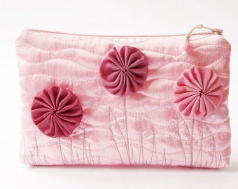 Baby Pink Wedding Clutch, Flower Girl Gift Bag, Candy Pink Floral Purse for Girl